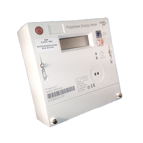Landis and Gyr 5219 three phase electricity meter side view